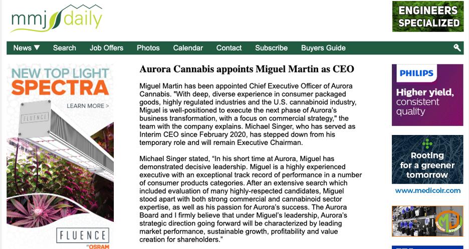 Aurora Cannabis stock CEO