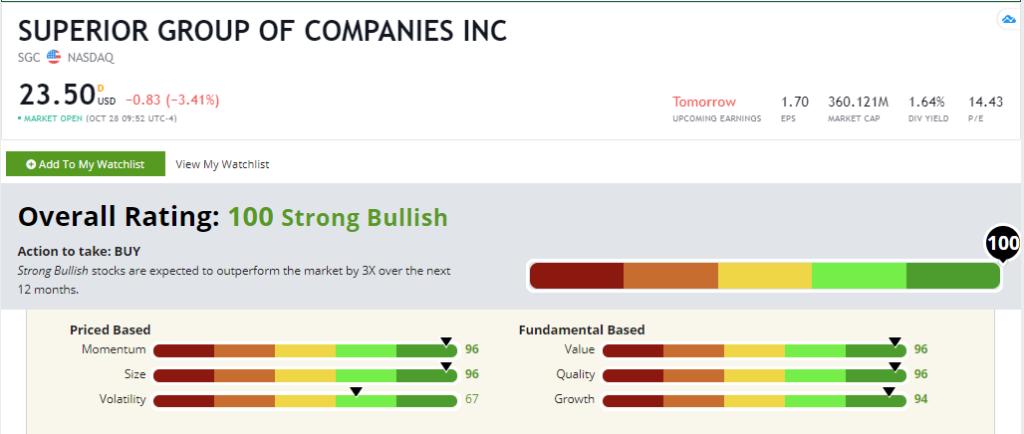 SGC stock rating
