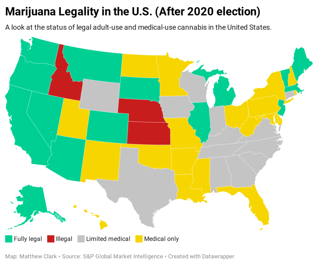 cannabis legality map