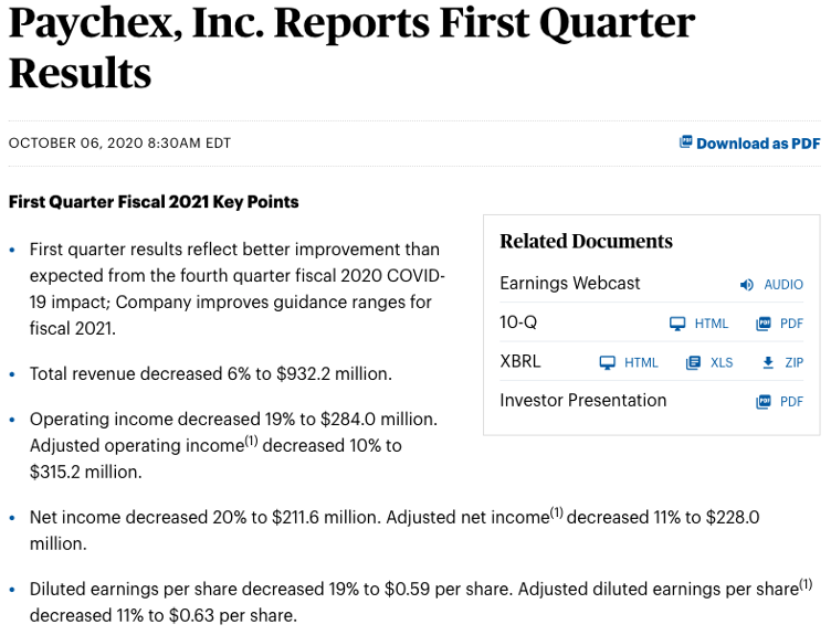 Paychex earnings headline