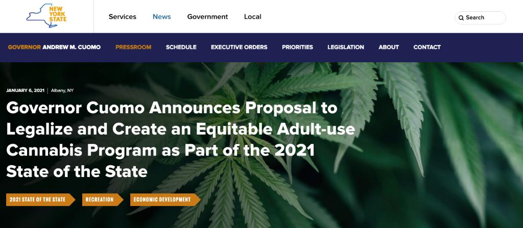 Governor Cuomo: cannabis legalization
