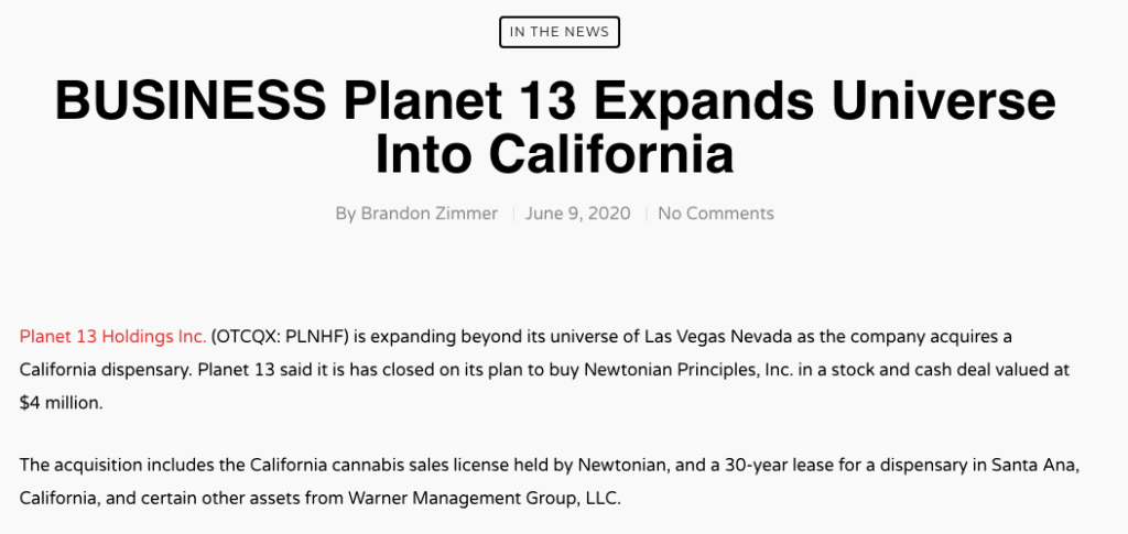 Planet 13 Holdings stock California