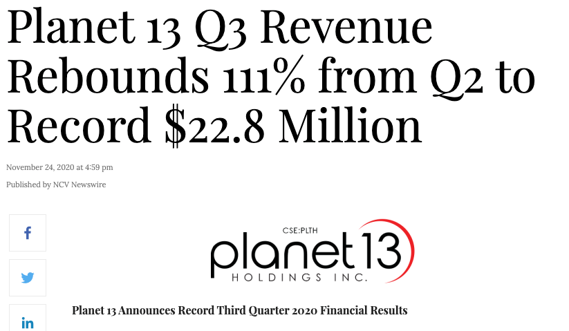 Planet 13 Holdings stock revenue
