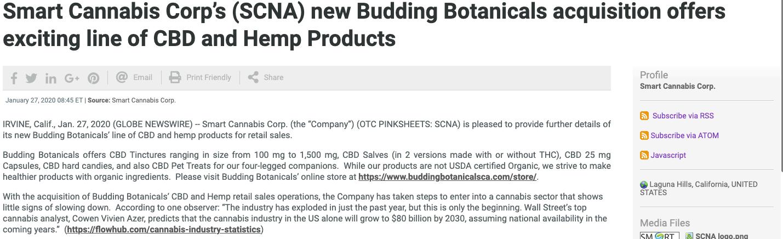 Smart Cannabis Corp. stock news