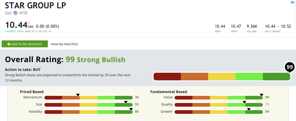 utilities stock Star Group rating