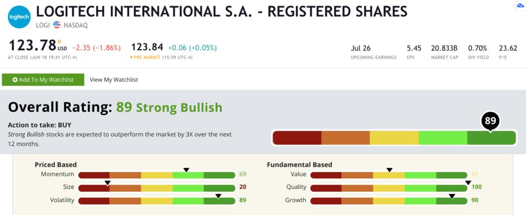 Logitech stock rating