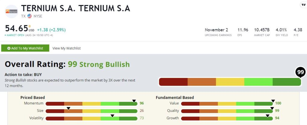 Ternium stock rating